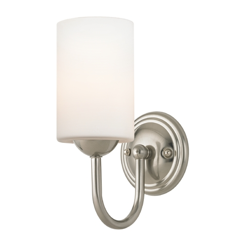 Design Classics Lighting Sconce with White Glass in Satin Nickel Finish 593-09 GL1028C