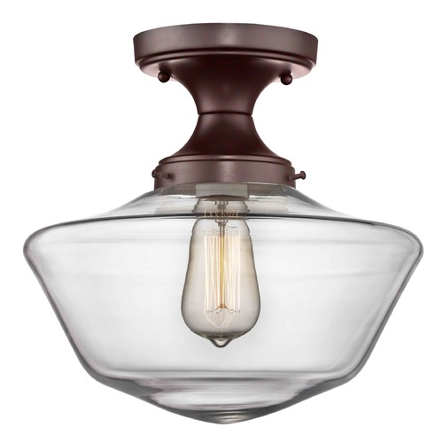 Design Classics Lighting 12-Inch Wide Bronze Clear Glass Schoolhouse Ceiling Light FDS-220 / GA12-CL