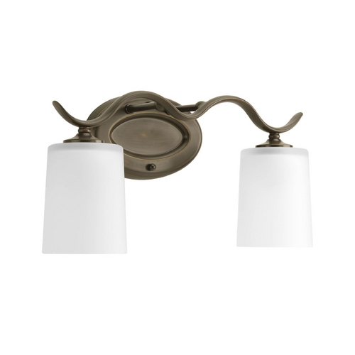Progress Lighting Progress Bathroom Light with White Glass in Antique Bronze Finish P2019-20