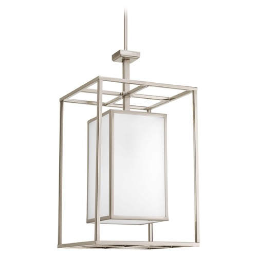 Progress Lighting Progress Lighting Haven Brushed Nickel Pendant Light with Rectangle Shade P3921-09