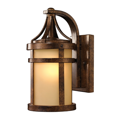 Elk Lighting Outdoor Wall Light with Amber Glass in Hazelnut Bronze Finish 45095/1