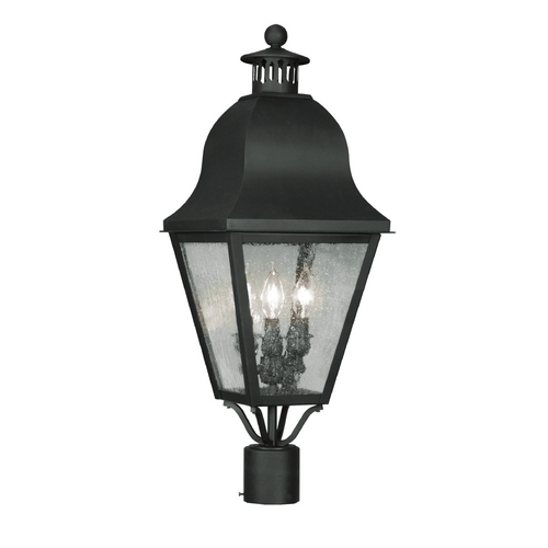 Livex Lighting Seeded Glass Post Light Black Livex Lighting 2556-04