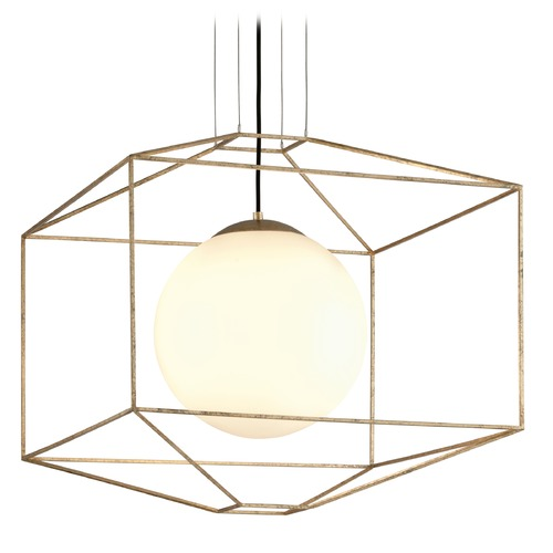 Troy Lighting Troy Lighting Silhouette Gold Leaf Pendant Light with Globe Shade F5215