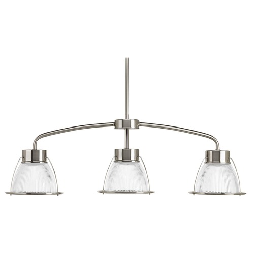 Progress Lighting Progress Lighting Prismatic Glass Brushed Nickel LED Island Light with Bowl / Dome Shade P4715-0930K9