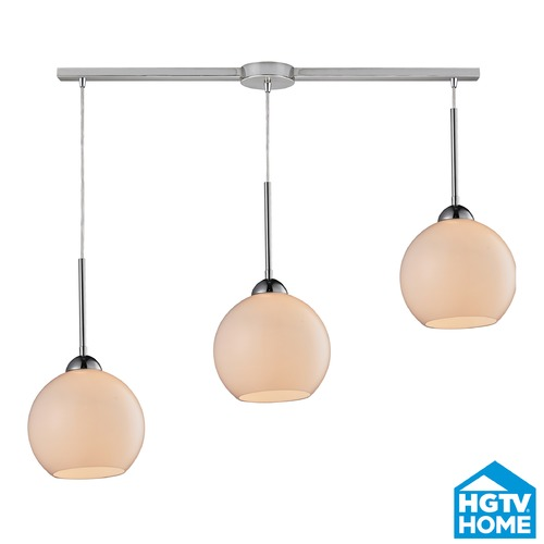 Elk Lighting Elk Lighting Cassandra Polished Chrome Multi-Light Pendant with Globe Shade 10240/3L-WH