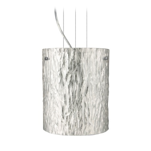 Besa Lighting Besa Lighting Tamburo Satin Nickel LED Mini-Pendant Light with Cylindrical Shade 1KG-4006SS-LED-SN