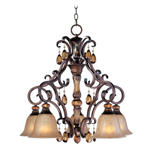 Maxim Lighting Chandelier with Amber Glass in Filbert Finish 22264EMFL