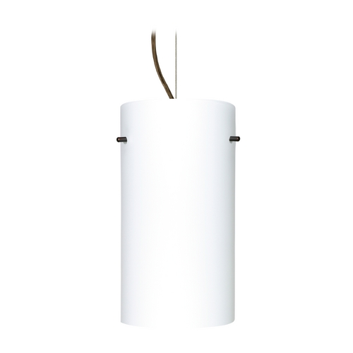 Besa Lighting Modern Pendant Light with White Glass in Bronze Finish 1KX-412007-BR
