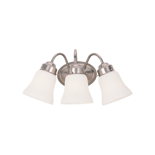 Sea Gull Lighting Bathroom Light with White Glass in Brushed Nickel Finish 44020-962