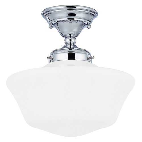 Design Classics Lighting 12-Inch Schoolhouse Semi-Flush Ceiling Light in Chrome Finish FAS-26 / GA12