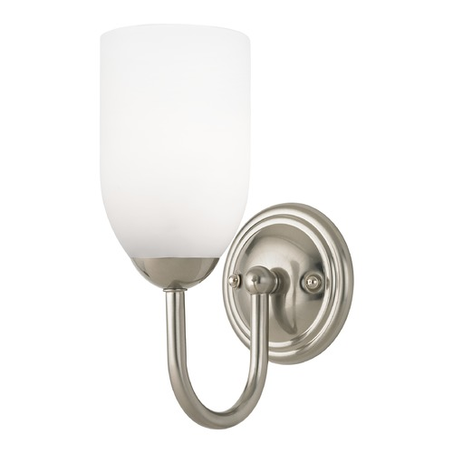 Design Classics Lighting Sconce with White Glass in Satin Nickel Finish 593-09 GL1028D