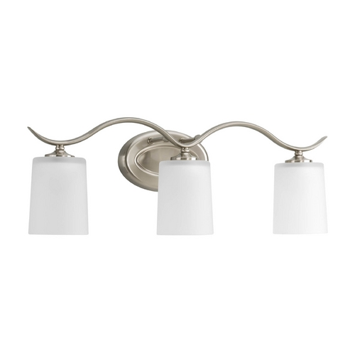 Progress Lighting Progress Bathroom Light with White Glass in Brushed Nickel Finish P2020-09