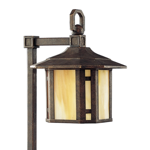 Progress Lighting Progress Path Light with Art Glass in Weathered Bronze Finish P5272-46
