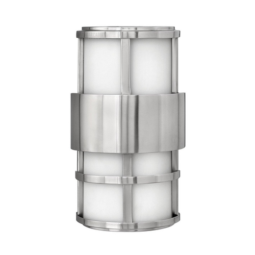 Hinkley Lighting Modern Outdoor Wall Light with White Glass in Stainless Steel Finish 1908SS