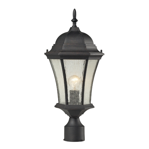 Elk Lighting Post Light with Clear Glass in Weathered Charcoal Finish 45054/1
