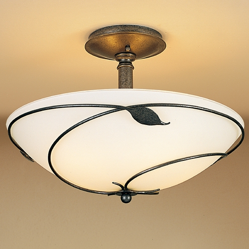 Hubbardton Forge Lighting Hubbardton Forge Lighting Leaf Natural Iron Semi-Flushmount Light 126732-20-G52
