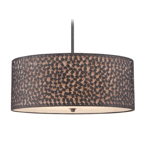 Quoizel Lighting Quoizel Lighting Confetti Rustic Black Pendant Light with Drum Shade CKCF2825RK