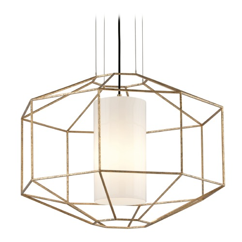 Troy Lighting Troy Lighting Silhouette Gold Leaf Pendant Light with Cylindrical Shade F5216