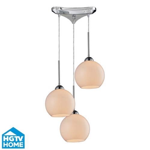 Elk Lighting Elk Lighting Cassandra Polished Chrome Multi-Light Pendant with Globe Shade 10240/3WH