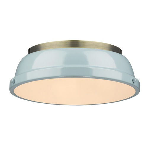 Golden Lighting Golden Lighting Duncan Ab Aged Brass Flushmount Light 3602-14 AB-SF