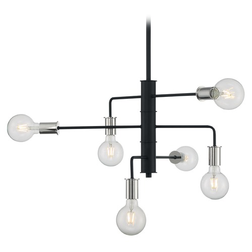 Satco Lighting Satco Lighting Ryder Black / Polished Nickel Chandelier 60/7354