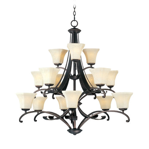 Maxim Lighting Chandelier with White Glass in Rustic Burnished Finish 21067FLRB