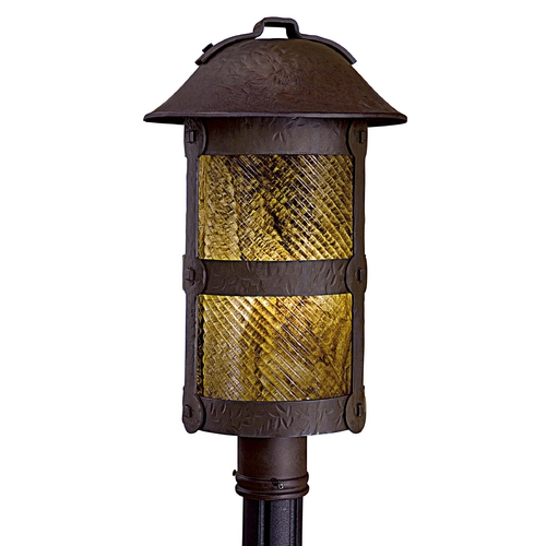 Minka Lavery Post Light with Beige / Cream Glass in Forged Bronze Finish 9256-A199-PL