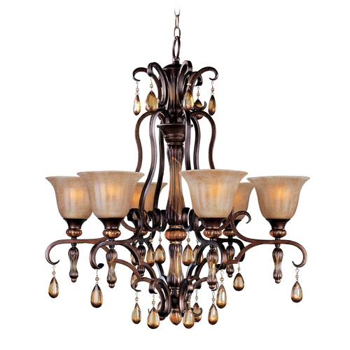 Maxim Lighting Crystal Chandelier with Amber Glass in Filbert Finish 22265EMFL