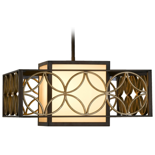Feiss Lighting Pendant Light with Brown Tones Shades in Heritage Bronze/parissiene Gold Finish F2467/2HTBZ/PGD