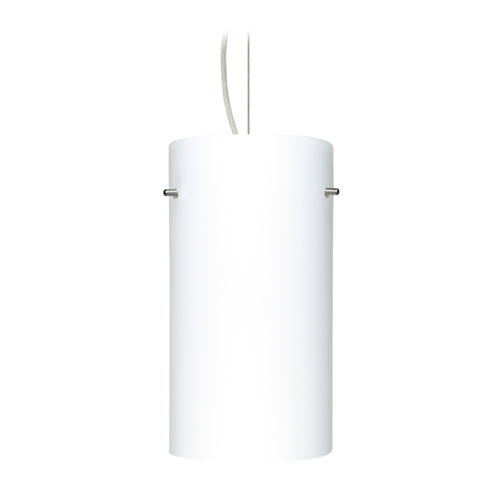 Besa Lighting Modern Pendant Light with White Glass in Satin Nickel Finish 1KX-412007-SN