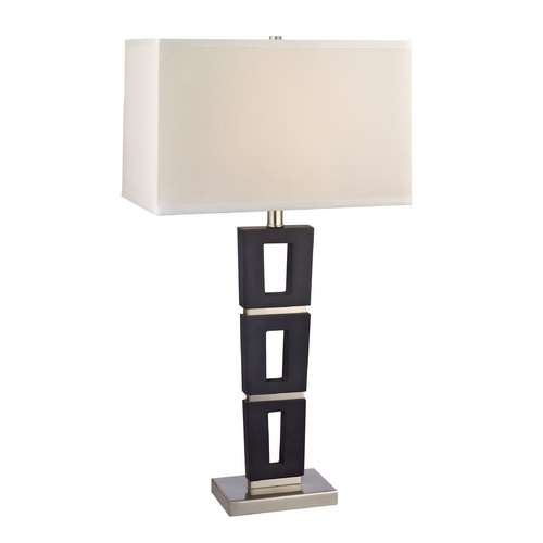 Dolan Designs Lighting Modern Table Lamp with White Shade in Satin Nickel / Slate Finish 15021-09/153