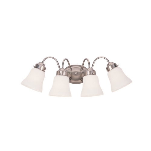 Sea Gull Lighting Bathroom Light with White Glass in Brushed Nickel Finish 44021-962