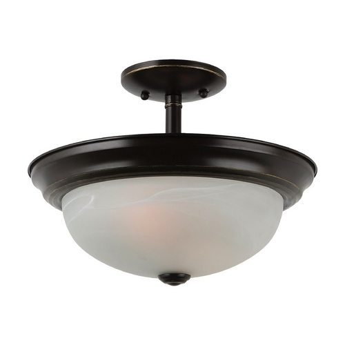 Sea Gull Lighting Semi-Flushmount Light with Alabaster Glass in Heirloom Bronze Finish 77950BLE-782