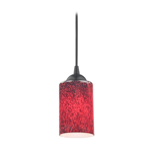 Design Classics Lighting Contemporary Mini-Pendant Light with Red Art Glass Cylinder Shade 582-07  GL1018C