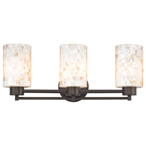 Design Classics Lighting Bathroom Light with Mosaic Glass Glass in Neuvelle Bronze Finish 703-220 GL1026C