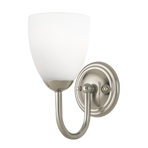 Design Classics Lighting Sconce with White Glass in Satin Nickel Finish 593-09 GL1028MB