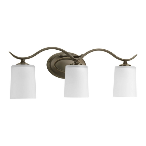 Progress Lighting Progress Bathroom Light with White Glass in Antique Bronze Finish P2020-20