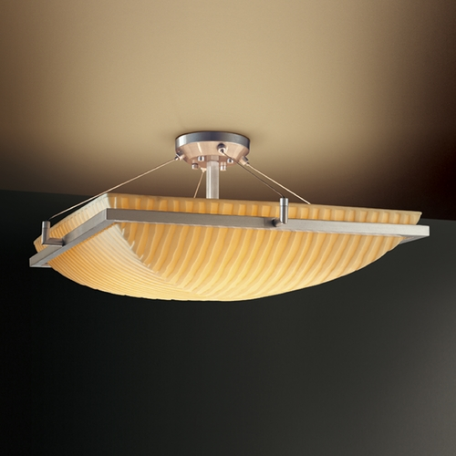 Justice Design Group Justice Design Group Porcelina Collection Semi-Flushmount Light PNA-9782-25-WFAL-NCKL