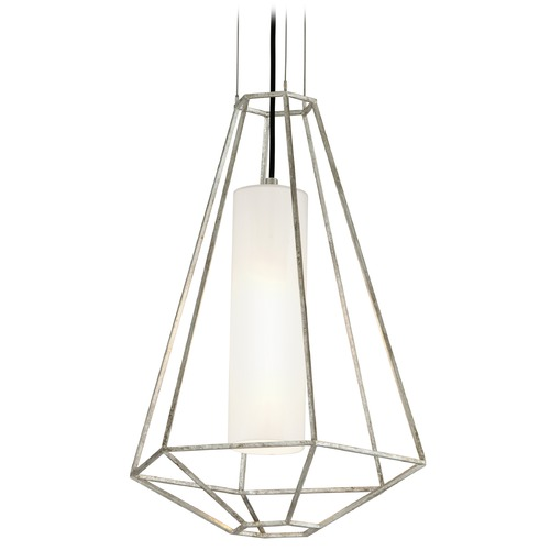 Troy Lighting Troy Lighting Silhouette Silver Leaf Pendant Light with Cylindrical Shade F5253