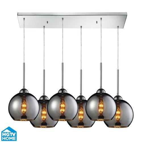Elk Lighting Elk Lighting Cassandra Polished Chrome Multi-Light Pendant with Globe Shade 10240/6RC-CHR