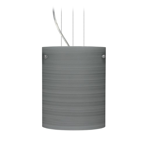 Besa Lighting Besa Lighting Tamburo Satin Nickel LED Mini-Pendant Light with Cylindrical Shade 1KG-4006TN-LED-SN
