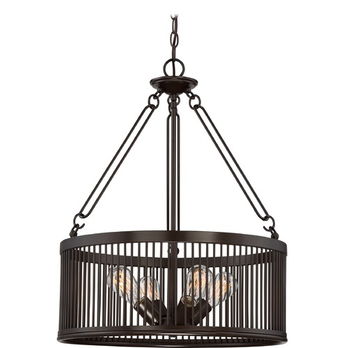 Quoizel Lighting Quoizel Lighting Belgrade Western Bronze Pendant Light with Drum Shade BGD2820WT