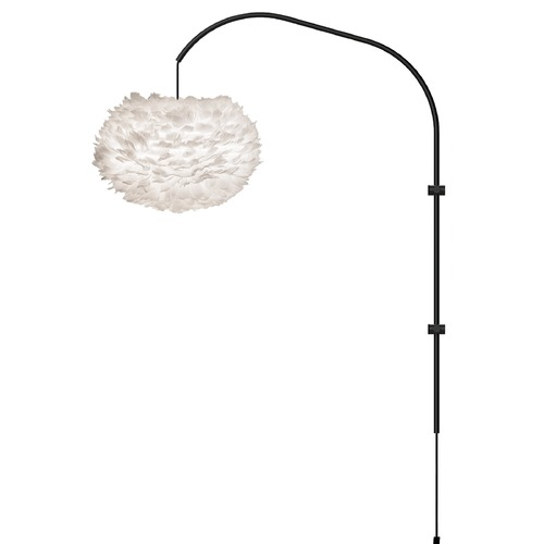UMAGE Black Wall Lamp with White Abstract Feather Shade 3002_4133