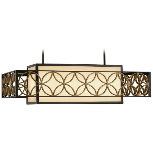 Feiss Lighting Pendant Light with Brown Tones Shades in Heritage Bronze/parissiene Gold Finish F2468/4HTBZ/PGD