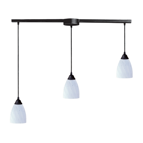 Elk Lighting Modern Multi-Light Pendant Light with Art Glass and 3-Lights 406-3L-WH