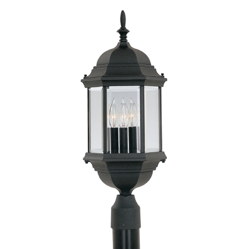 Designers Fountain Lighting Post Light with Clear Glass in Black Finish 2986-BK
