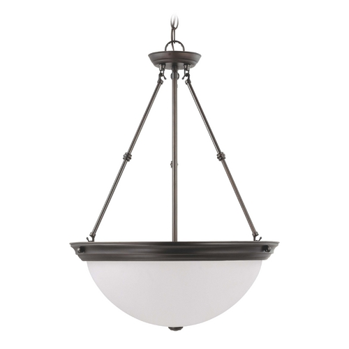 Nuvo Lighting Pendant Light with White Glass in Mahogany Bronze Finish 60/3153