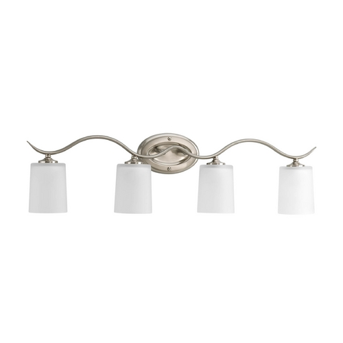 Progress Lighting Progress Bathroom Light with White Glass in Brushed Nickel Finish P2021-09