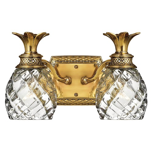 Hinkley 2-Light Burnished Brass Pineapple Bathroom Light With Clear Glass 5312BB