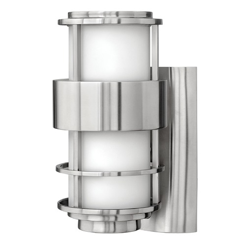 Hinkley Modern Outdoor Wall Light with White Glass in Stainless Steel Finish 1900SS